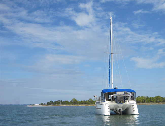 Great Escape Anchored in Tyson's Harbor, Dog Island FL