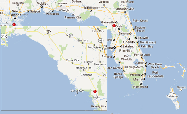 Map showing sailing route from St. Marks FL to Crystal River FL