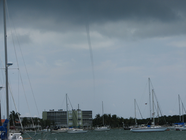 One of many funnel clouds produced by a thunderstorm that moved over Boot Key Harbor.