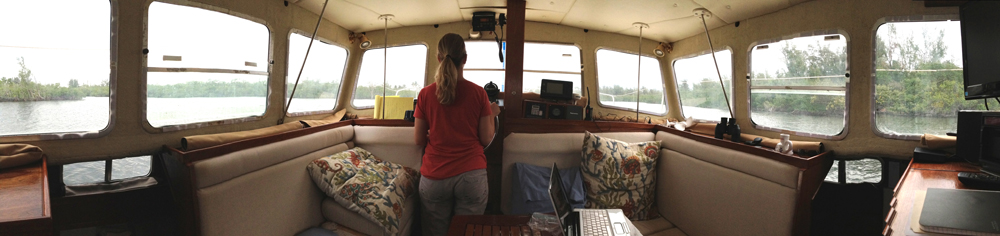 Roxanne at the helm.