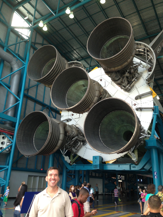 Massive rocket engines of the Saturn V